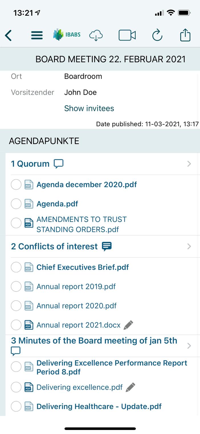 Jederzeit auf Agenda und Unterlagen zugreifen, auch offline