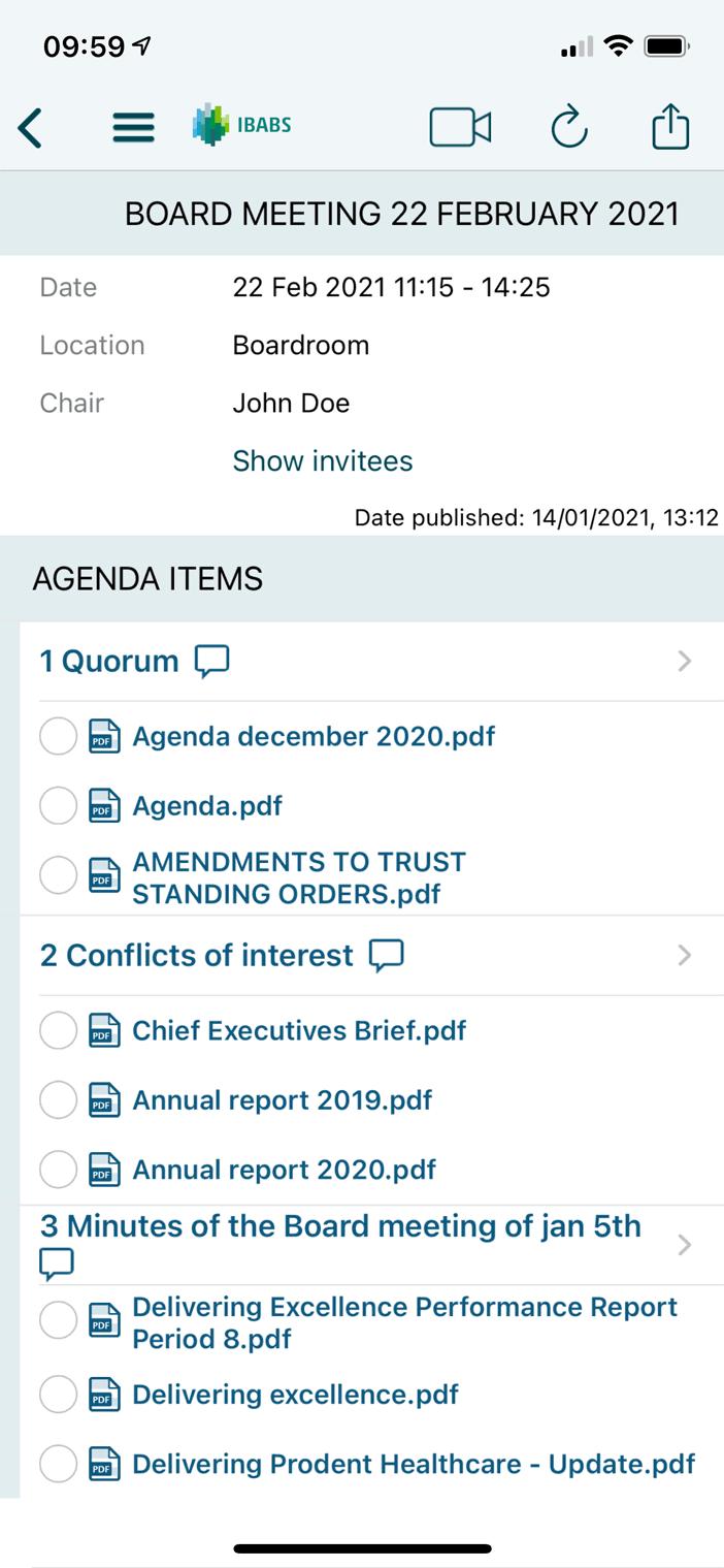 24/7 toegang tot agenda's en documenten, zelfs offline