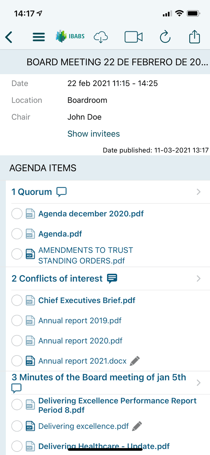 Acceda a agendas y documentos desde cualquier lugar, las 24 horas, 7 días a la semana – incluso fuera de línea.
