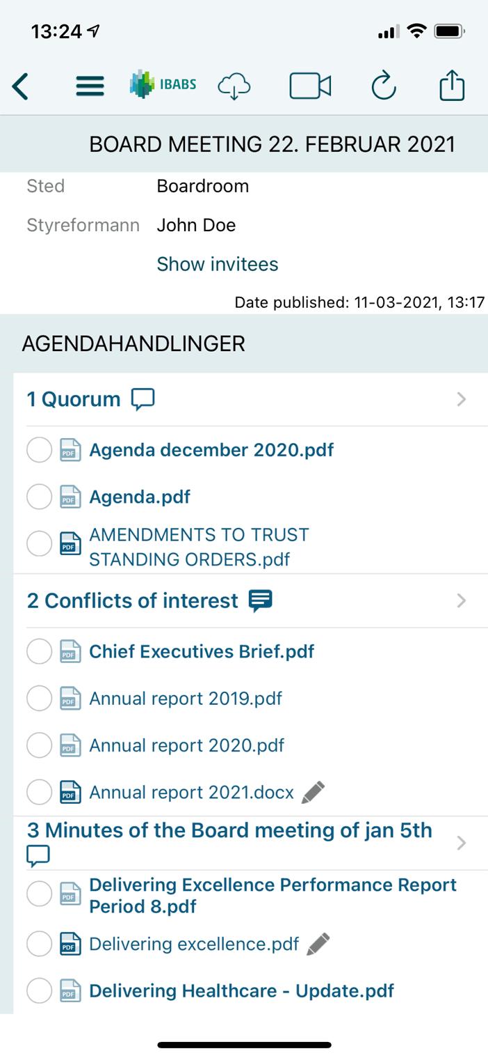 Få tilgang til dagsorden og dokumenter uansett hvor du er og uansett når på døgnet – selv når du ikke er koblet til nettet.